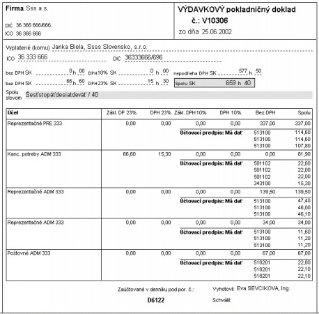 Výdavkový pokladničný doklad - tlač